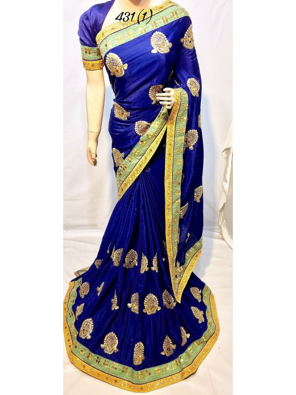 Metallic Silk Party Wear Saree In Royal Blue With Crystal Stone Work