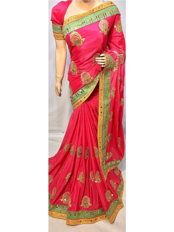 Metallic Silk Party Wear Saree In Pink With Crystal Stone Work