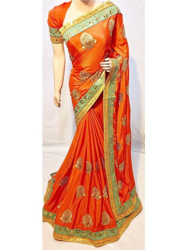 Metallic Silk Party Wear Saree In Orange With Crystal Stone Work