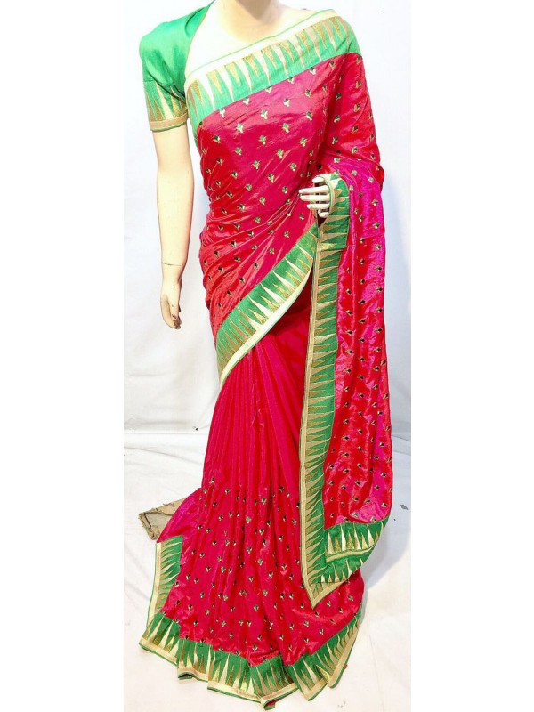 Shadow Silk Party Wear Saree In Pink With Embroidery Work