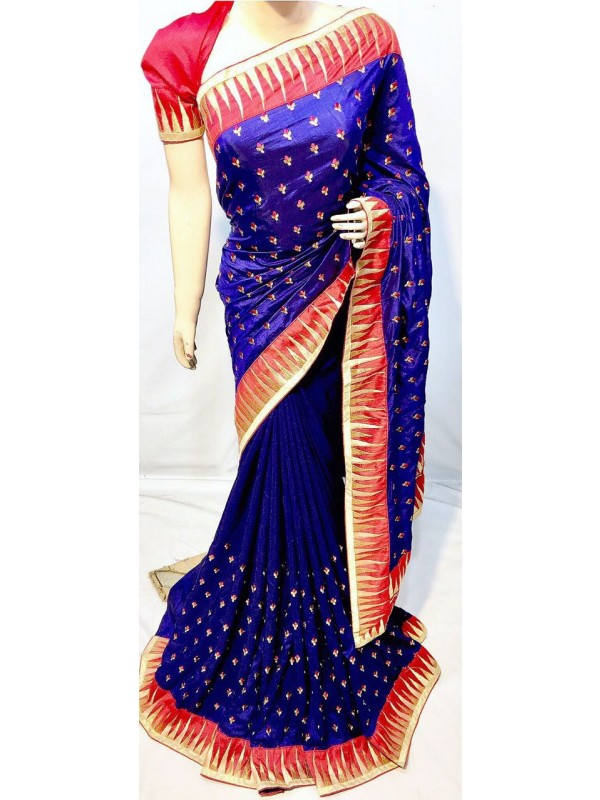 Shadow Silk Party Wear Saree In Blue With Embroidery Work