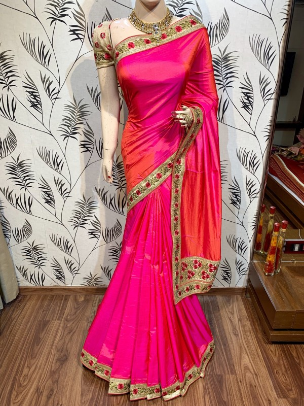 Pure Silk Party Wear Saree In Pink With Embroidery Work