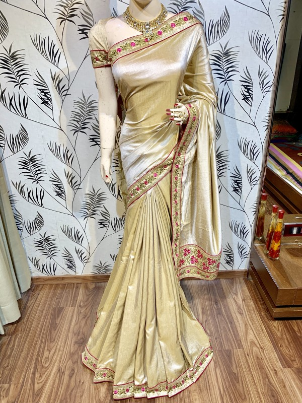 Pure Silk Party Wear Saree In Beige With Embroidery Work