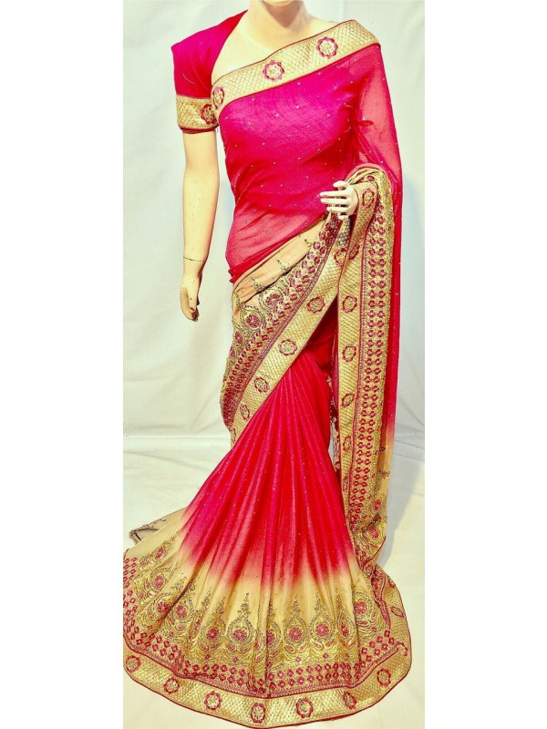 Pedding Chiffon Party Wear Saree In Pink With Embroidery & Crystal Stone Work