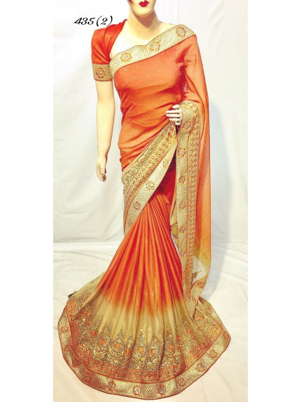 Pedding Chiffon Party Wear Saree In Orange With Embroidery & Crystal Stone Work