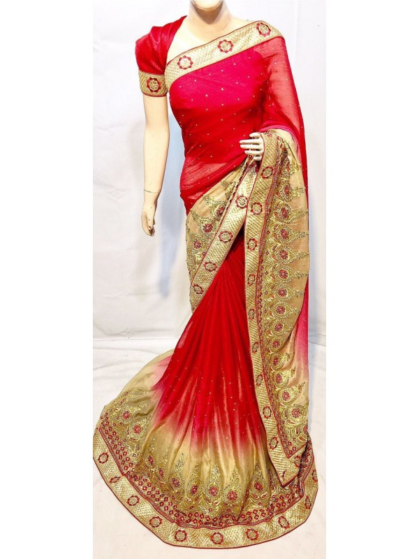 Pedding Chiffon Party Wear Saree In Red With Embroidery & Crystal Stone Work