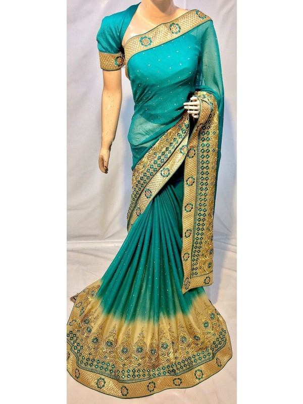 Pedding Chiffon Party Wear Saree In Blue With Embroidery & Crystal Stone Work