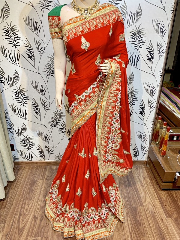 Chinon Chiffon Wedding Wear Saree In Red With Crystal Stone Work