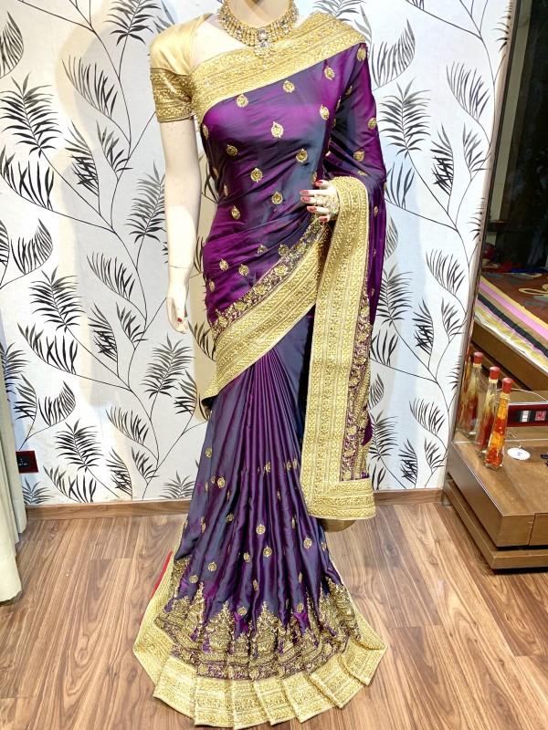 Metallic Silk Wedding Wear Saree In Purple WIth Embroidery Work & Crystal Stone work