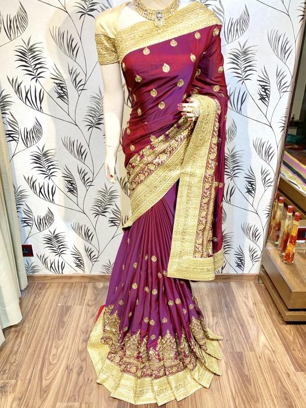Metallic Silk Wedding Wear Saree In Marron WIth Embroidery Work & Crystal Stone work