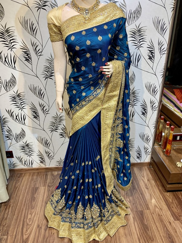 Metallic Silk Wedding Wear Saree In Blue WIth Embroidery Work & Crystal Stone work