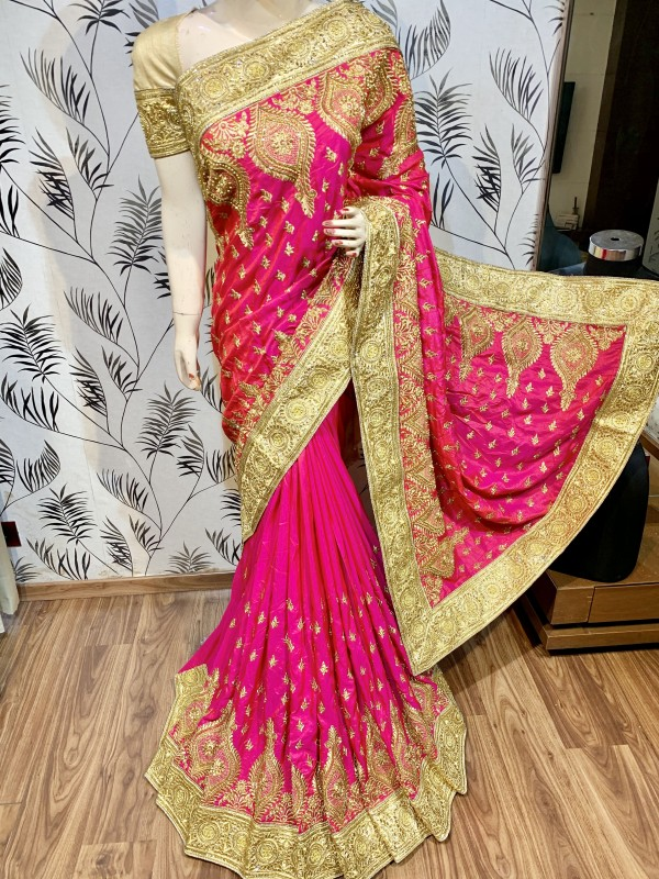Pure Heritage Silk Wedding Wear Saree In Pink With Embroidery & Crystal Stone Work