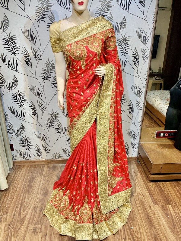 Pure Heritage Silk Wedding Wear Saree In Red With Embroidery & Crystal Stone Work