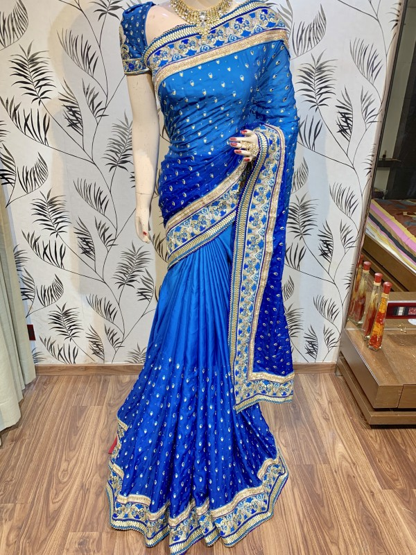 Pure Sateen Silk Bridal Wear Saree In Blue WIth Embroidery Work & Crystal Stone work