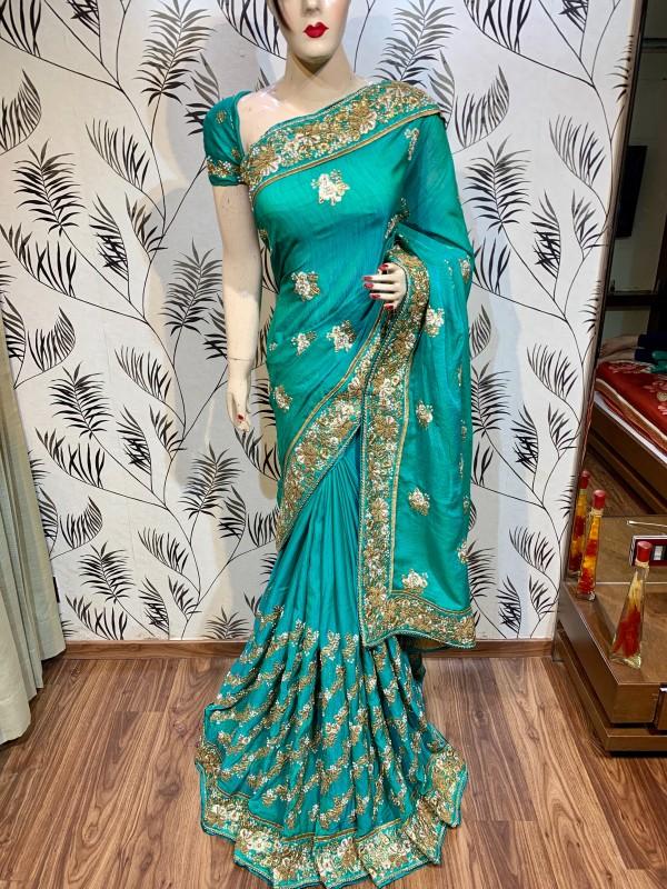 Slub Chiffon Wedding Wear Saree In Rama WIth Embroidery Work & Crystal Stone work