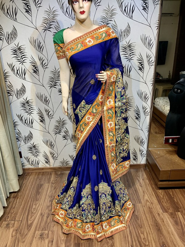 Mulberry Silk Wedding Wear Saree In Blue With Embroidery & Crystal Stone Work