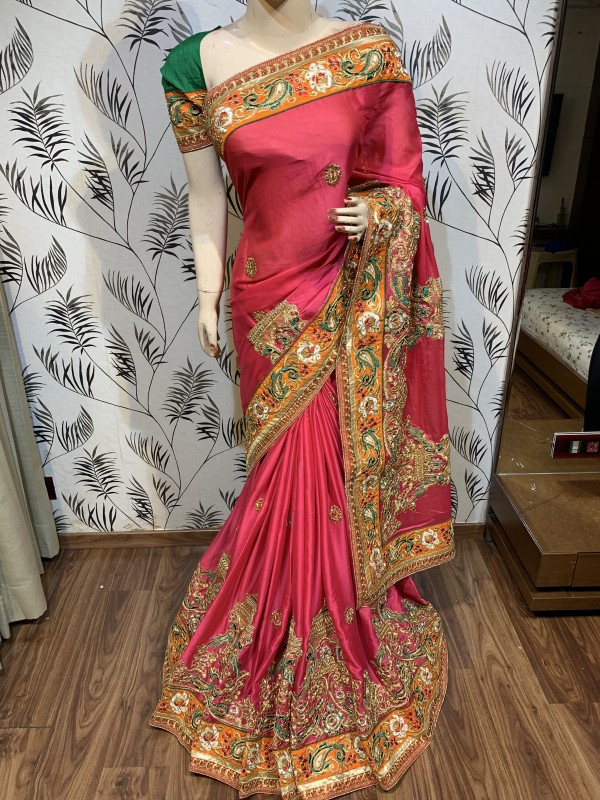 Mulberry Silk Wedding Wear Saree In Pink With Embroidery & Crystal Stone Work