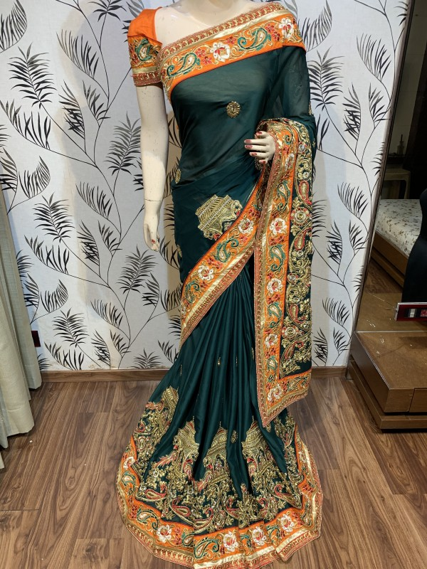 Mulberry Silk Wedding Wear Saree In Green With Embroidery & Crystal Stone Work