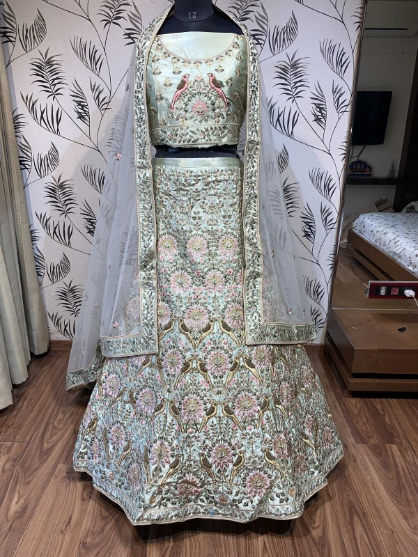 Pure Satin Silk Wedding Wear Lehenga In Pista WIth Embroidery & Crystals Stone Work