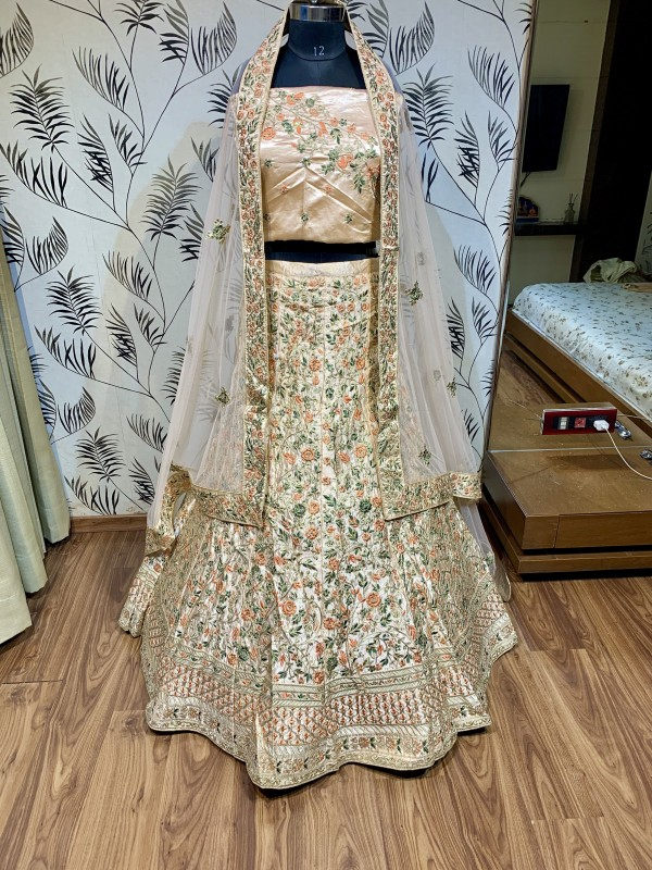Pure Satin Silk Wedding Wear Lehenga In Peach WIth Embroidery & Crystals Stone Work