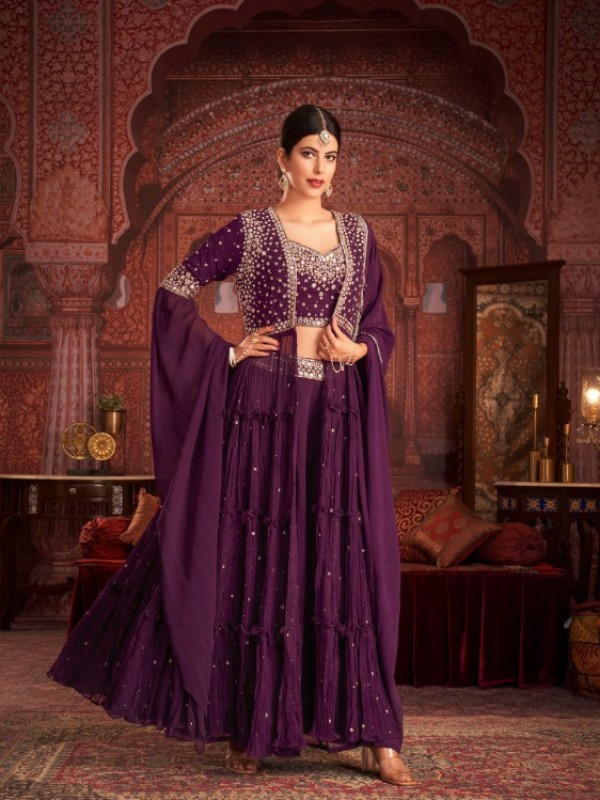 Geogratte  Party Wear  In Violet  Color With Embroidery Work