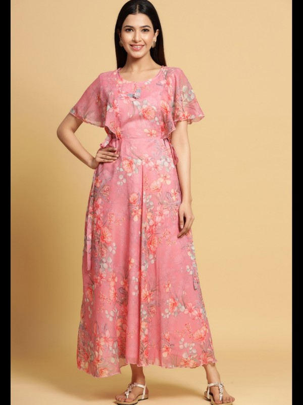 Chiffon With Cotton Lining  Fabrics Long Kurti In Pink Color