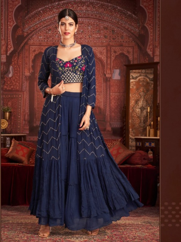 Geogratte  Party Wear  In Blue Color With Embroidery Work