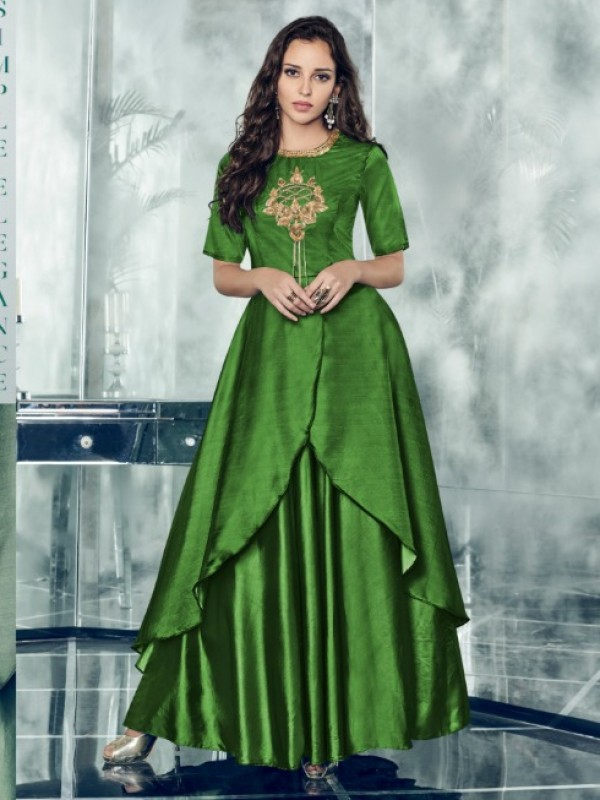 Satin Silk Long Kurti In Green With Embroidery  Work