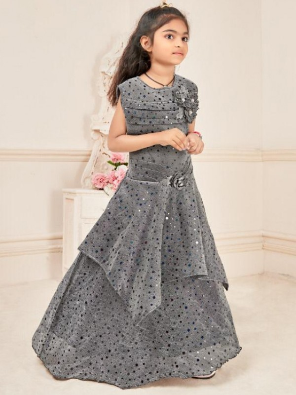Fancy Imported Fabrics Party Wear Kids Gown In Grey WIth Embroidery Work