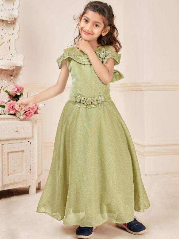 Fancy Imported Fabrics Party Wear Kids Gown In Green WIth Embroidery Work