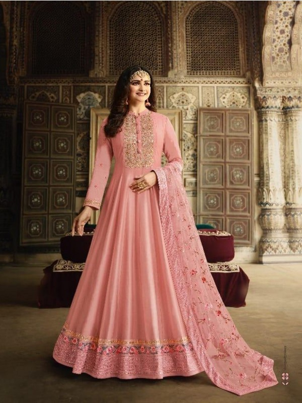 Dola Silk Party Wear Gown In Dark Pink  Color With Embroidery work and Stone work