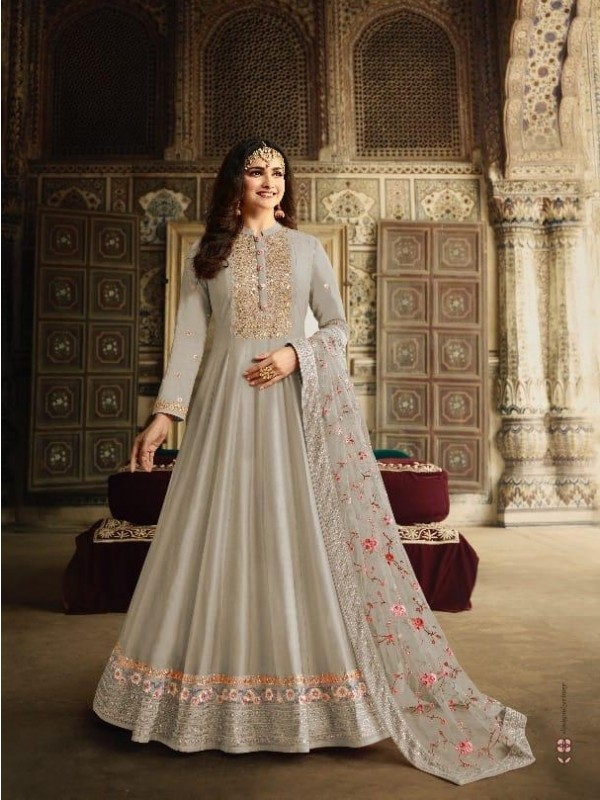Dola Silk Party Wear Gown In Grey Color With Embroidery work and Stone work