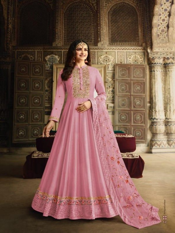Dola Silk Party Wear Gown In Pink Color With Embroidery work and Stone work