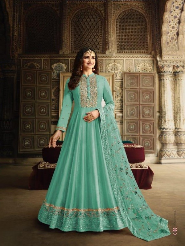 Dola Silk Party Wear Gown In Turquoise Color With Embroidery work and Stone work