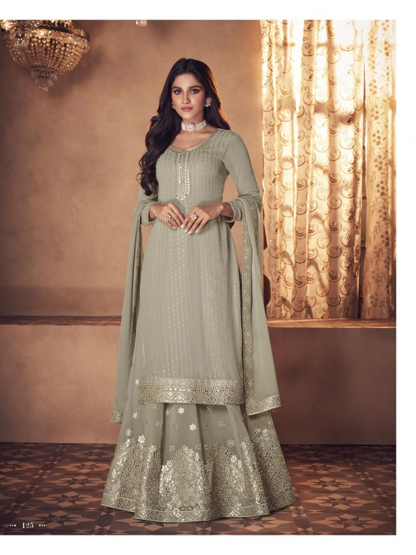 Real Geogratte  Party Wear Plazo Suit  in Grey Color with  Embroidery Work