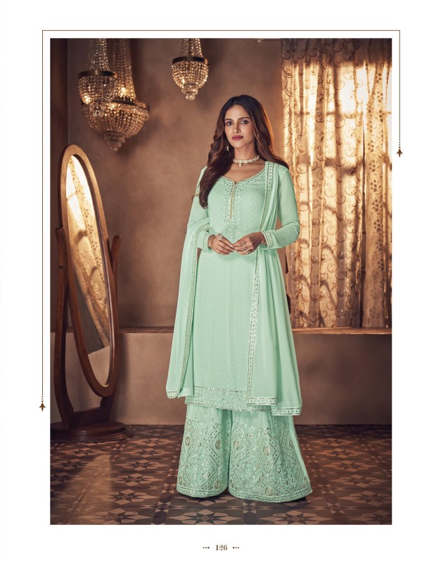 Real Geogratte  Party Wear Plazo Suit  in Sea Green Color with  Embroidery Work