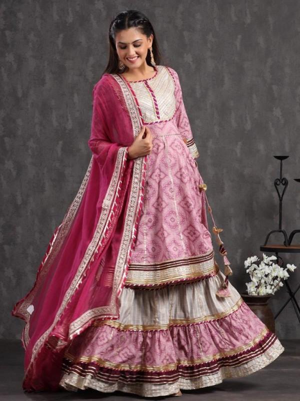 Cotton Party Wear Sarara in Pink  Color