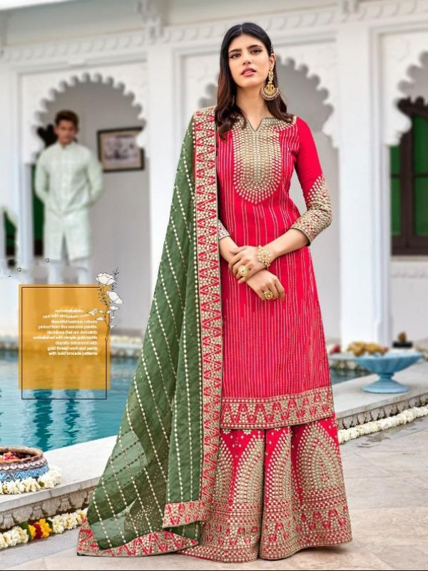 Heavy georgette Party Wear Plazo Suit  in Pink Color with  Embroidery Work