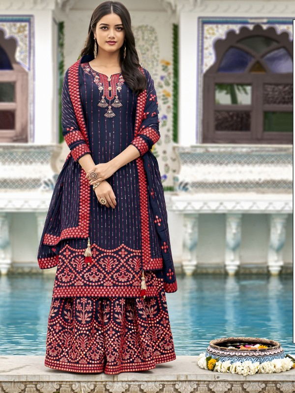 Heavy georgette Party Wear Plazo Suit  in Blue Color with  Embroidery Work