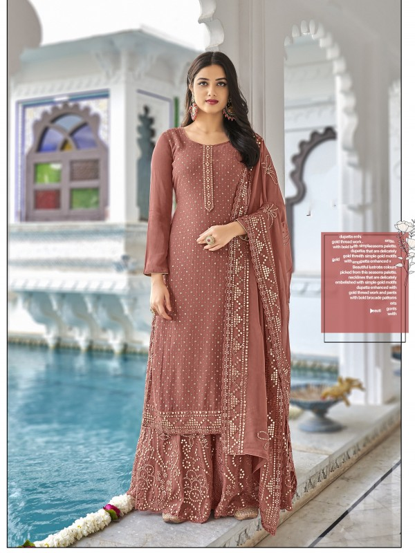 Heavy georgette Party Wear Plazo Suit  in Dusty Pink Color with  Embroidery Work