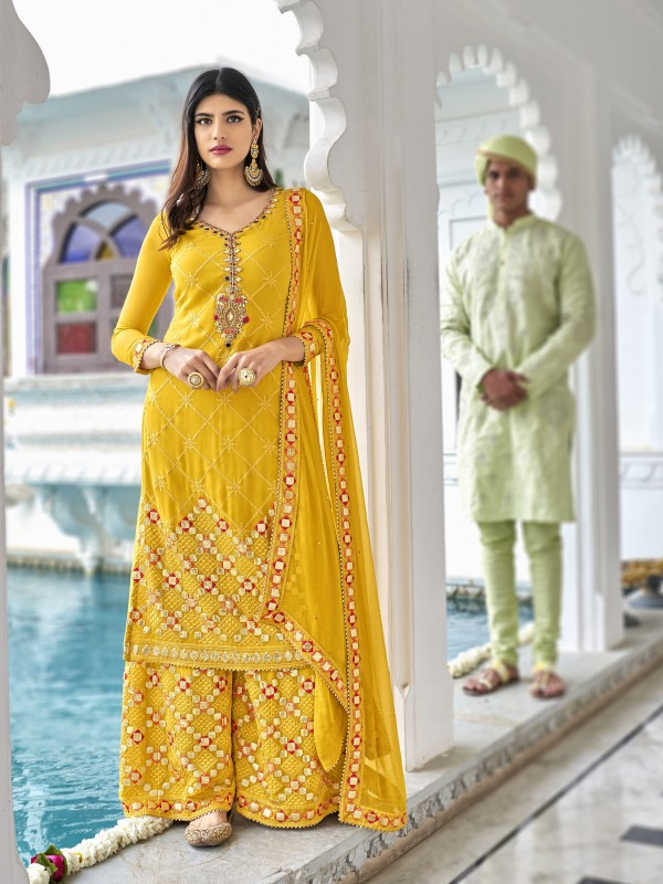 Heavy georgette Party Wear Plazo Suit  in Yellow Color with  Embroidery Work
