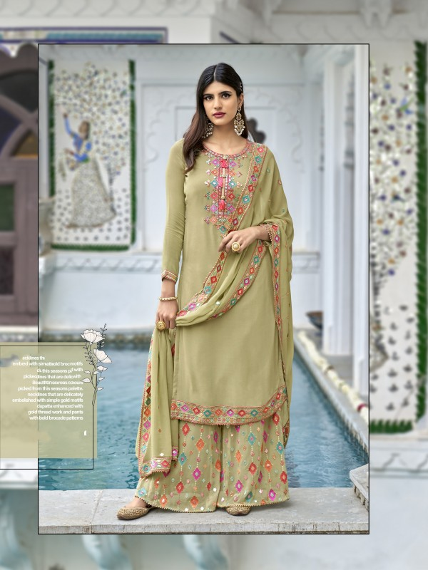 Heavy georgette Party Wear Plazo Suit  in Pastel Green Color with  Embroidery Work