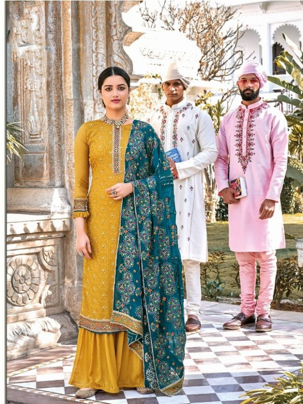 Heavy Chinon Party Wear Plazo Suit  in Musard  Color with  Embroidery Work