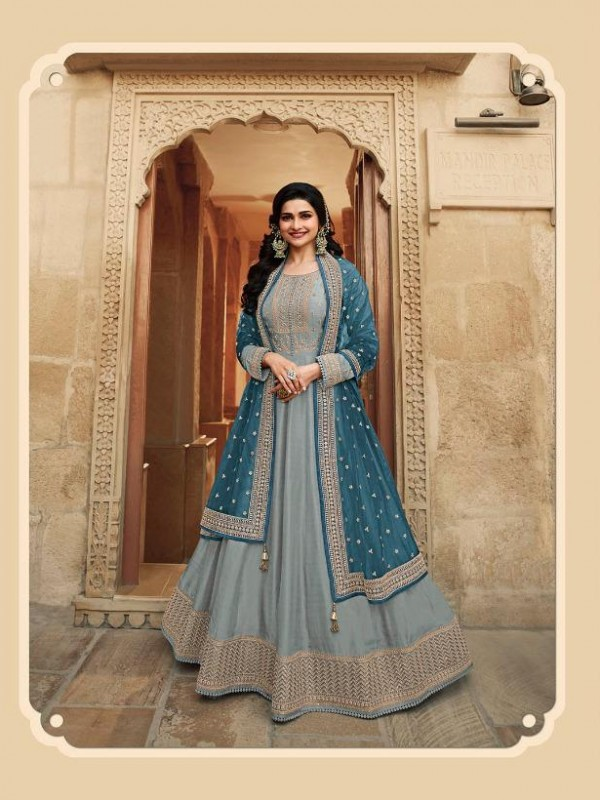 Dola Silk Party Wear Gown In Grey With Embrodiery Work