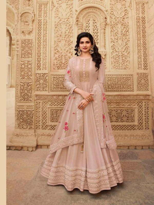 Dola Silk Party Wear Gown In Pastel Pink With Embrodiery Work