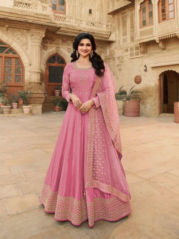Dola Silk Party Wear Gown In Pink With Embrodiery Work