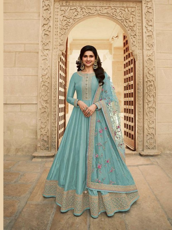 Dola Silk Party Wear Gown In Turquoise With Embrodiery Work