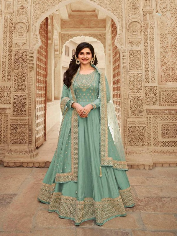 Dola Silk Party Wear Gown In Sea Green  With Embrodiery Work