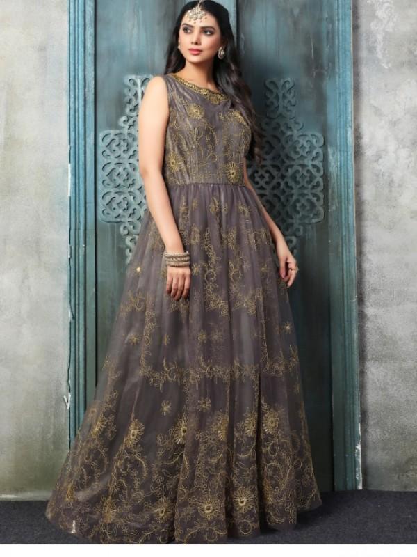 Soft Premium Net Functional Wear Gown In Grey With Resham Zari Work