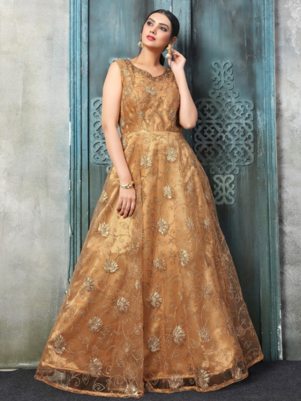 Soft Premium Net Functional Wear Gown In Gold With Resham Zari Work